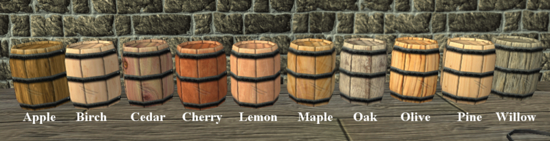 Ten small barrels, made from each available tree type as labeled.