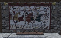 A Cavalry motif tapestry
