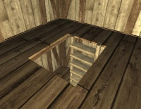 A Wooden plank opening